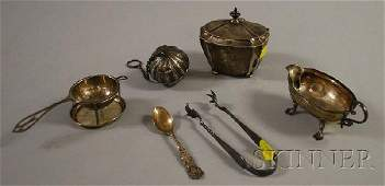 170 Five Assorted Sterling Silver Table Items and a Pa