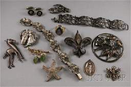 209: Group of Mostly Sterling Silver Jewelry, including