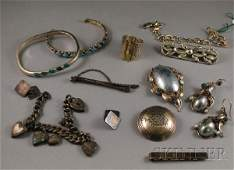 277: Group of Mostly Sterling Silver Jewelry, including