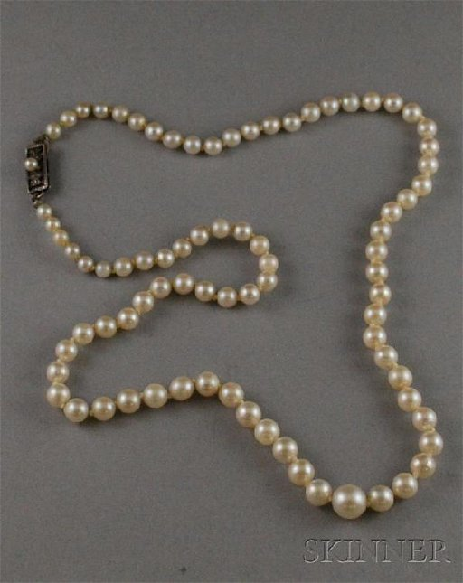 02b49648d4f94 294: Vintage Mikimoto Pearl Necklace, clasp stamped \