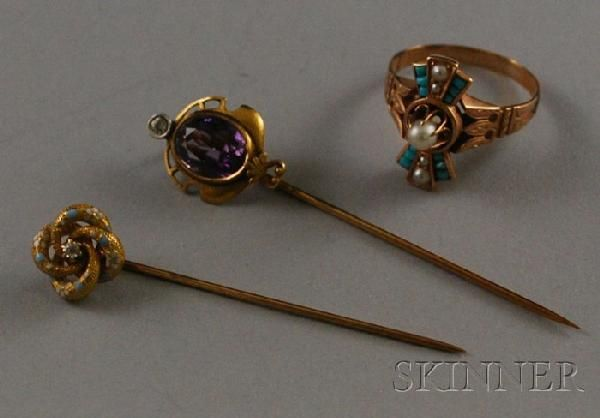 Three Antique 14kt Gold and Gem-set Jewelry Items,
