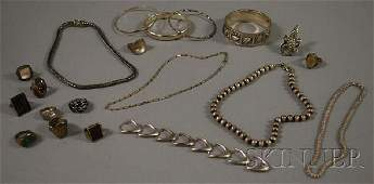 332: Group of Mostly Sterling Silver Jewelry, including