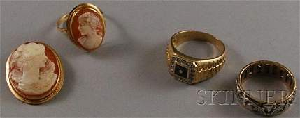 359A Three 14kt Gold Jewelry Items a gold diamond a