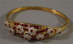 412: 14kt Gold, Ruby, and Diamond Bangle Bracelet, acco