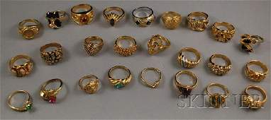 513 Large Group of Goldfilled and Costume Rings