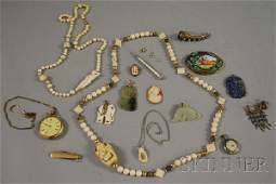 533: Group of Mostly Antique, Bone, and Hardstone Jewel