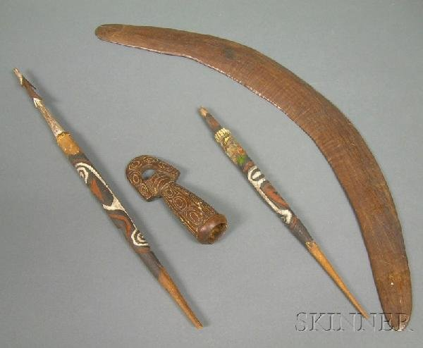 709: Four New Guinea and Aborigine Carved Wooden Items,