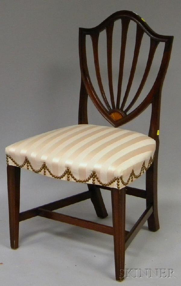 714: Federal-style Striped Damask Upholstered Inlaid Ma