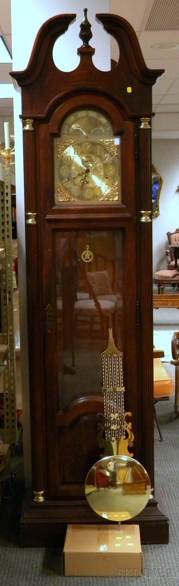 716: Mahogany Quarter-chiming Floor Clock by Howard Mil
