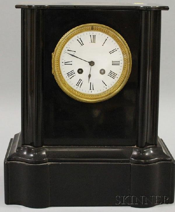 717: French Belgian Slate Mantel Clock, with white Roma
