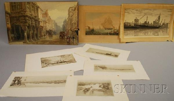718: Seven Unframed Prints and a Watercolor on Paper, i