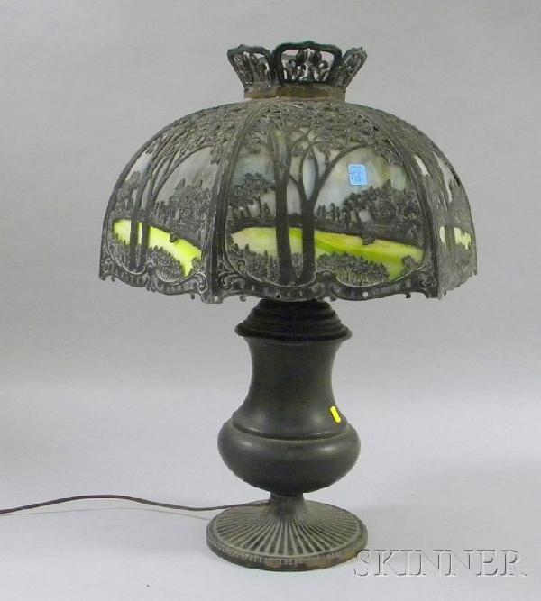 719: Patinated Metal Table Lamp with Hexagonal Metal Ov