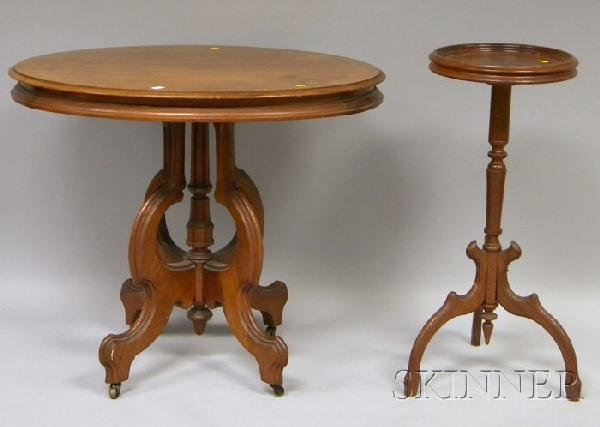 721: Victorian Oval Carved Walnut Occasional Table and