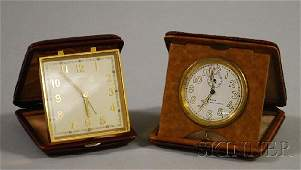 745: Two Leather-cased Travel Alarm Clocks, an Angelus