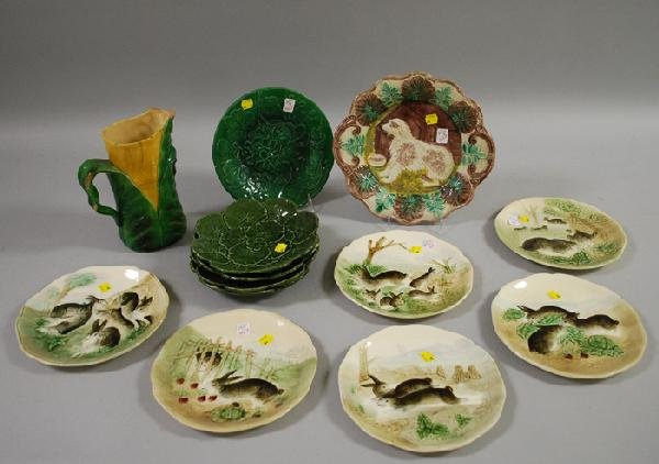 944: Thirteen Pieces of Assorted Majolica Tableware, a