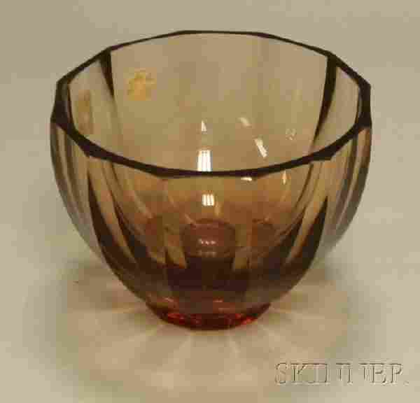 1164: Moser Faceted Amber Glass Footed Bowl, etched mar