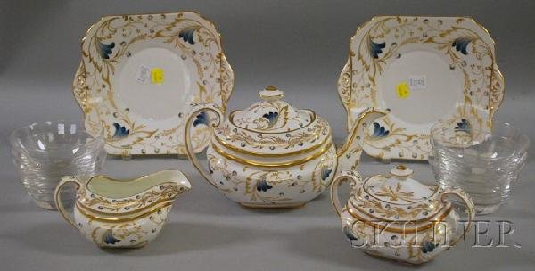 1224: Five-Piece Copeland Gilt Decorated Royce Pattern