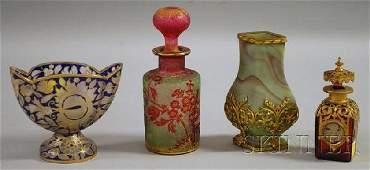 1367 Four Small European Art Glass Items a gilt and b