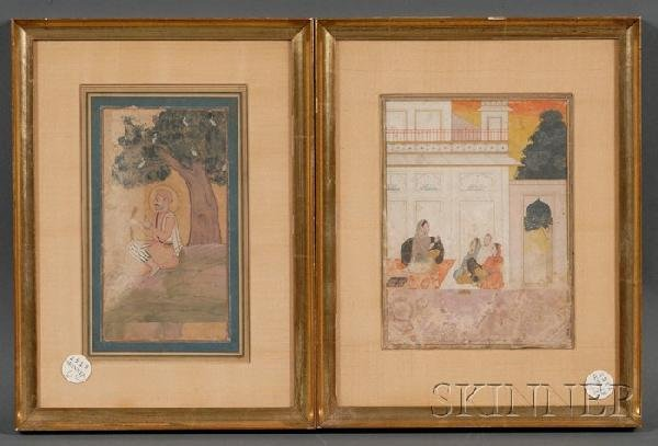 6: Two Miniature Paintings, India, 18th century, one of