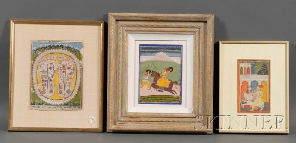 8: Three Miniature Paintings, India, 18th century, an a