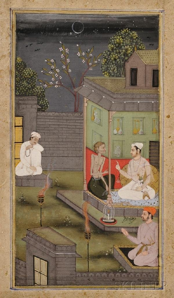 9: Indian Miniature Painting, 18th century, ink, colors