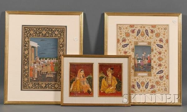 11A: Three Indian Miniatures, two courtly scenes of pri
