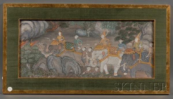 14: Thai Painting, 19th century, Ramayana scene, ink, c