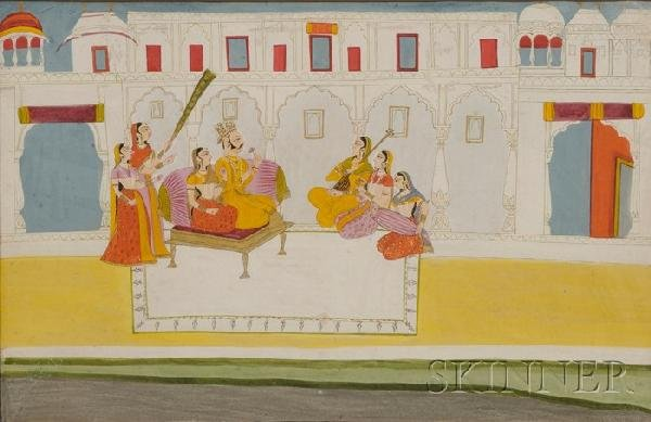 16A: Large Indian Watercolor, depiction of a courtly sc