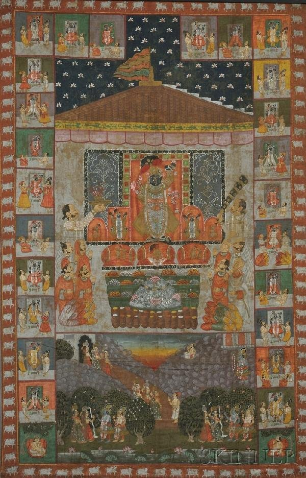 19: Temple Panel, India, 19th century, gouache on cloth