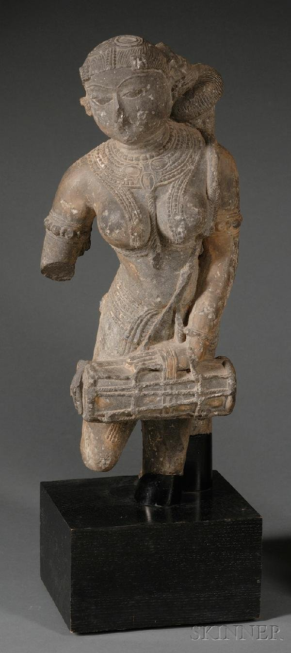 21: Stone Sculpture, India, 13th century, figure of a f