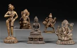 54: Five Bronzes, India, two figures of Ganesha, figure