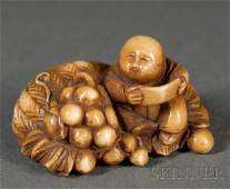 245 Ivory Netsuke Japan 19th century carving of a s
