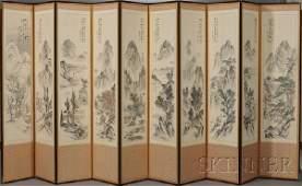 416 Ten Panel Folding Screen Korea 19th century ink