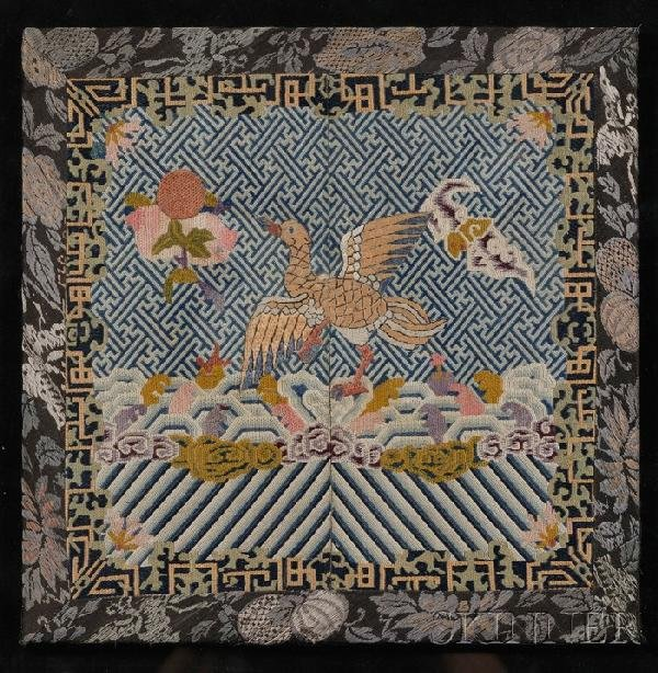 702: Rank Badge, China, 19th century, embroidered fourt