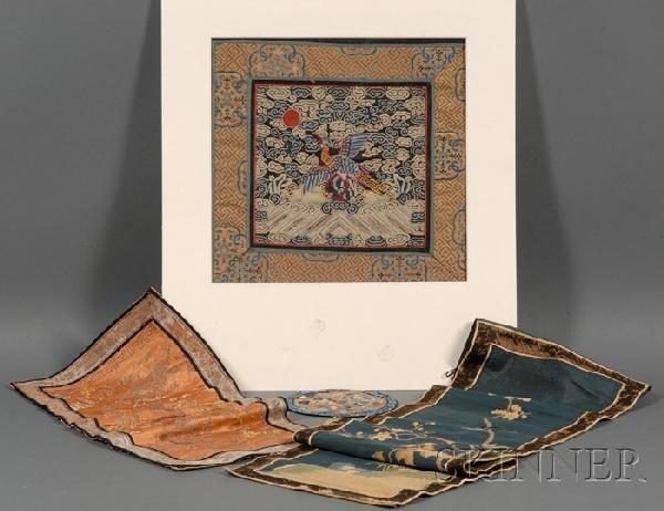 703: Four Textiles, China, 19th century, a brocade pane