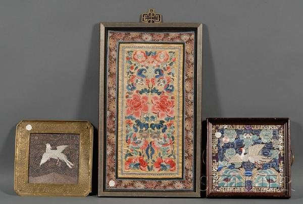 704: Three Silk Panels, China, a vertical panel embroid