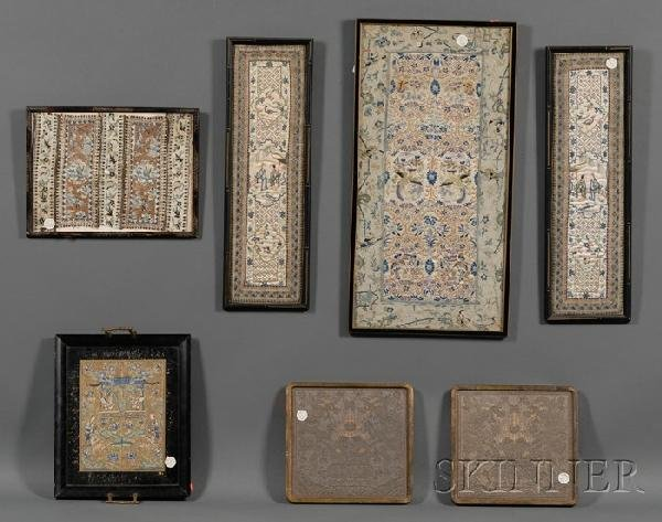 705: Lot of Seven Framed Textiles, China, embroidered t