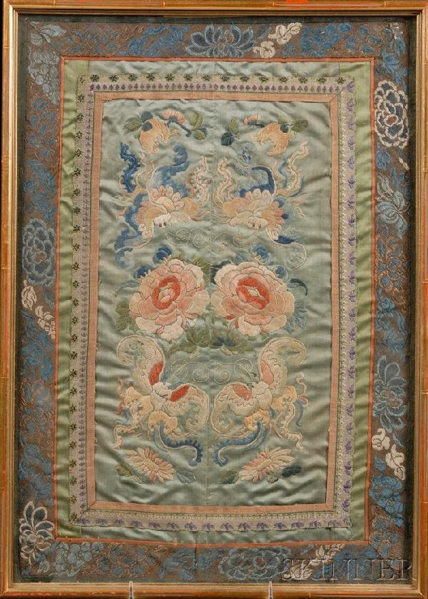 706: Framed Embroidery, China, of two pairs of butterfl