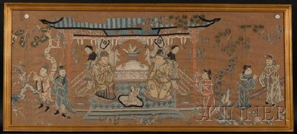 707: Framed Embroidery, China, 19th century, finely emb