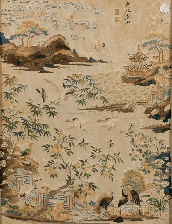 708: Embroidery Panel, China, depicting a paradisiacal