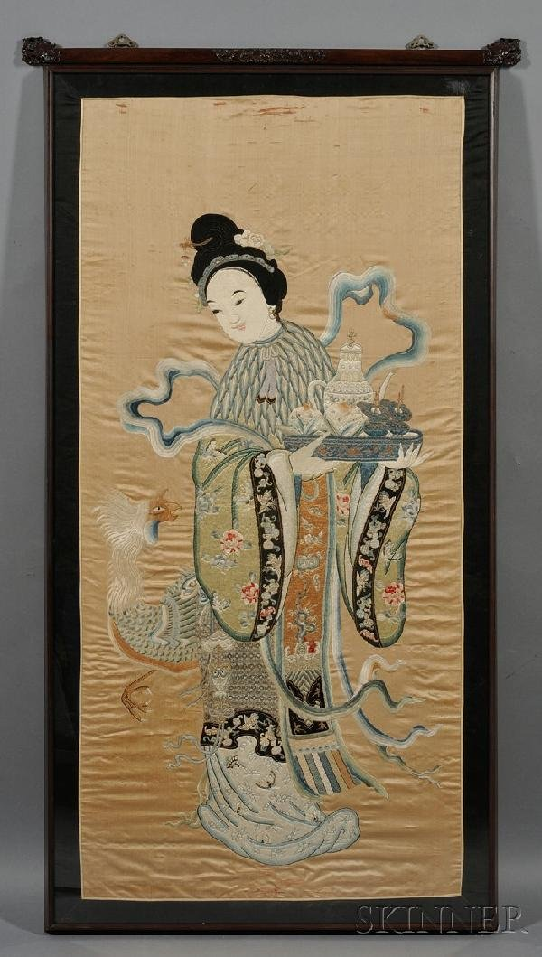 710: Framed Embroidery, China, embroidered with a celes