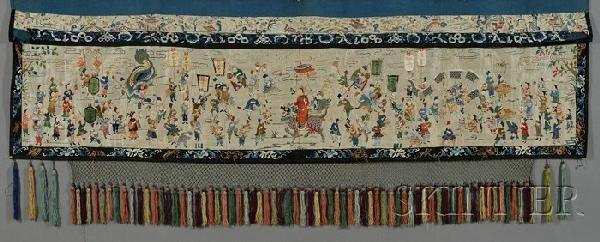 712: Silk Panel, China, 19th century, the rectangular p