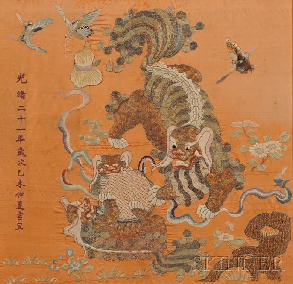 713: Embroidery Panel, China, 19th century, depicting a