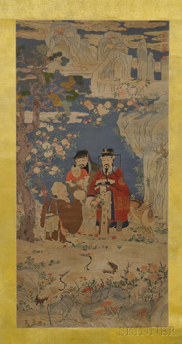 715: Large Kesi Panel, China, 19th century, finely wove