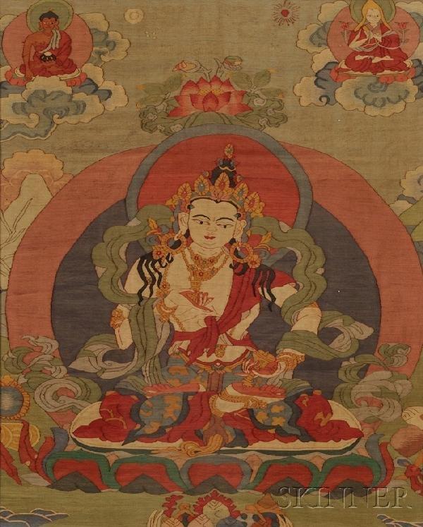716: Kesi Thangka, China, depiction of Amida Buddha sea