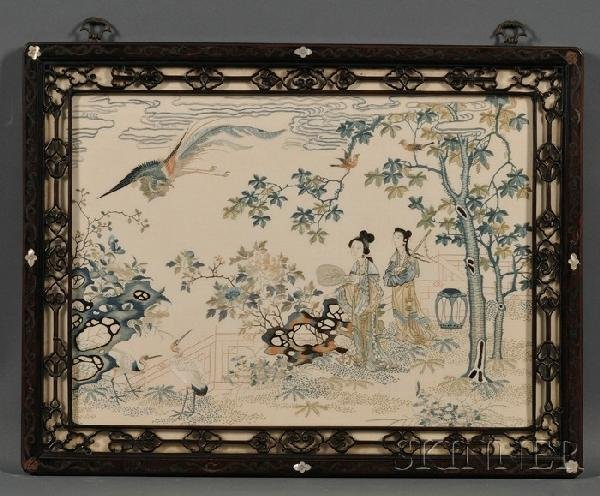 717: Pair of Embroidered Panels, China, Qianlong period