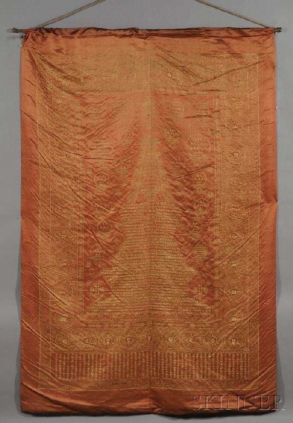 718: Large Silk Hanging Panel, Sino-Tibetan, gilt pagod