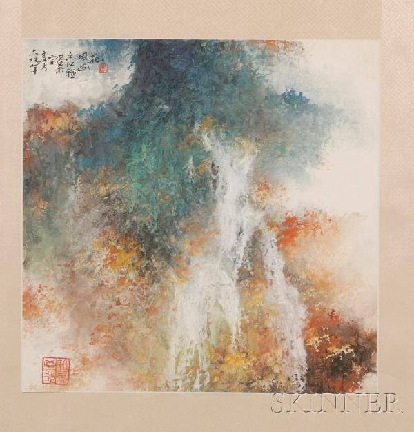 719: Framed Painting, China, watercolor on paper, abstr