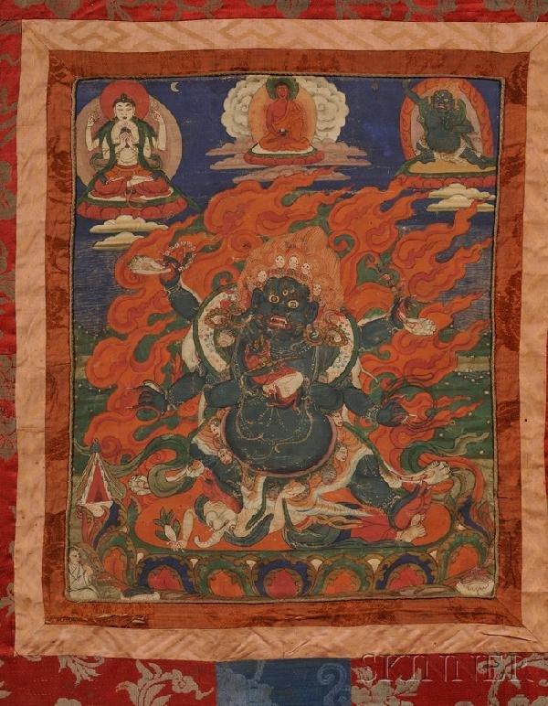 722: Thangka, Tibet, depiction of Mahakala shown in his