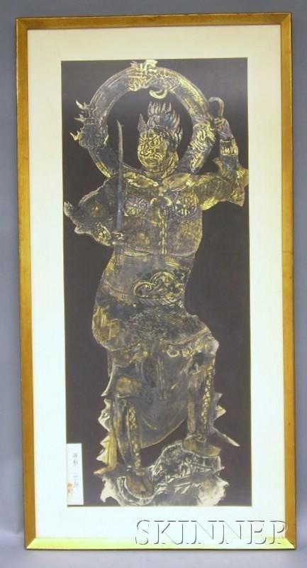 723: Lokapala Painting, framed and glazed, 32 3/4 x 13